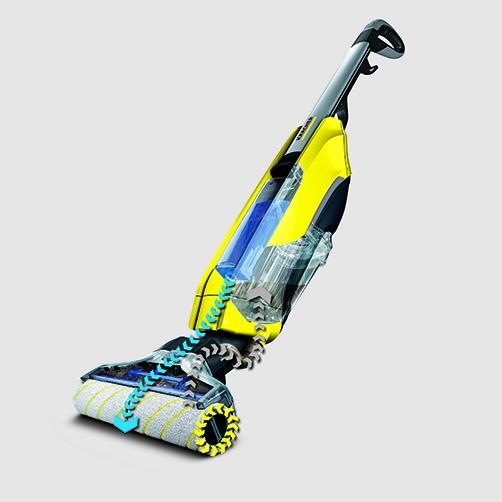 Función de autolimpieza con aspiración del circuito de agua sucia. Rodillos siempre limpios, para obtener unos mejores resultados de limpieza. Gracias a la escasa humedad residual, los suelos se secan en menos de dos minutos.