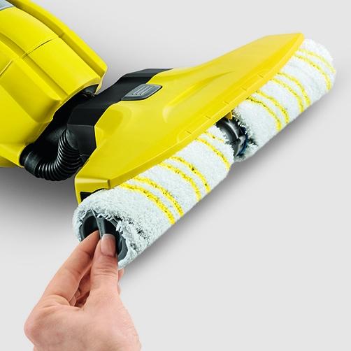 Rodillos de microfibras de alta calidad y fácil cambio Los rodillos de microfibras se pueden montar y extraer rápida y fácilmente. Se pueden lavar en la lavadora a un máximo de 60 °C.