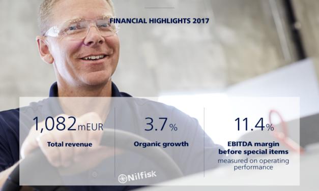 Nilfisk informa de los resultados financieros del 2017: Crecimiento sólido continuo con ganancias satisfactorias en línea con las expectativas.