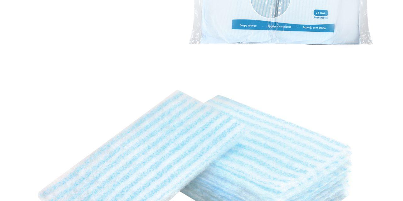 Esponjas pre-enjabonadas Soapy para residencias de mayores y centros de belleza.