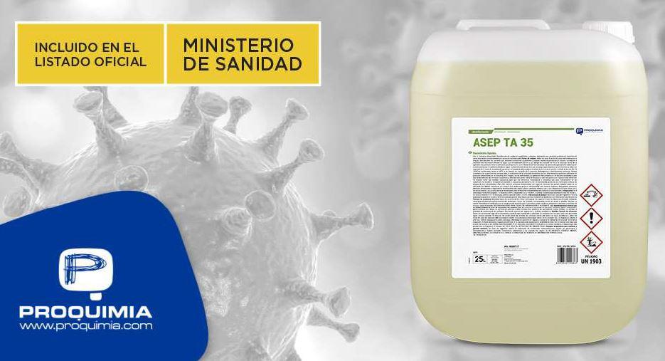 El desinfectante de superficies alimentarias ASEP TA 35, incluido en el listado de virucidas del Ministerio de Sanidad